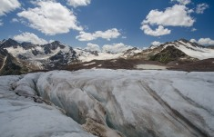 Glacier on the slopes of Mt Elbrus