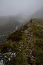 Heading into the mist as we climbed higher to Harman Pass