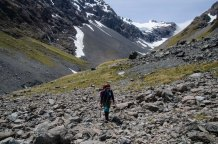 With Whitehorn Pass in the back the Croning Valley is a rocky route down to valley floor and through to the hut.