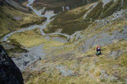 """Looking """"down"""" the climb up to Browning Pass."""