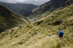 Heading down from Browning Pass as we head for Harman Hut.