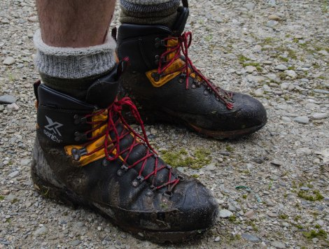 After so many stream and river crossings, snow fields and peat bog it is good to abee to take the boots of for the last time!